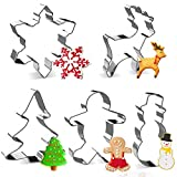 LEEFE 5Pcs Christmas Cookie Cutter Stainless Steel Baking Shape Mold for Making Muffins Biscuits - Gingerbread Men, Snowman, Snowflake, Candy Cane, Christmas Tree, Angel, Reindeer, Candy (5PCS)