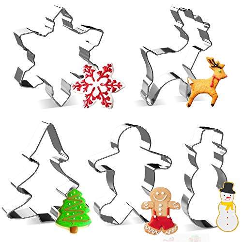 LEEFE 5Pcs Christmas Cookie Cutter Stainless Steel Baking Shape Mold for Making Muffins Biscuits  Gingerbread Men Snowman Snowflake Candy Cane Christmas Tree Angel Reindeer Candy