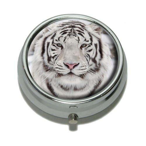 White Bengal Tiger with Blue Eyes Pill Case Trinket Gift ()
