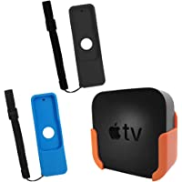 TV Mount for Apple TV 4th and 4K 5th Generation,SourceTon Wall Mount Bracket Holder for Apple TV 4th/4K 5th Gen,Bonus 2 Protective Case(Blue&Black) for Apple TV 4K/4th Gen Siri Remote Controls