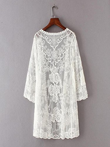 Blanco Mujer Para Npradla Redondo Casual Manga Abrigo 3 4 ZpT6w80q