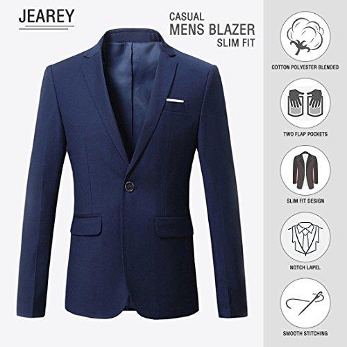 Jearey Mens Blazer Casual Slim Fit Lapel Suit Jacket One Button Daily Business Dress Coat (Navy, XX-Large) by Jearey (Image #3)