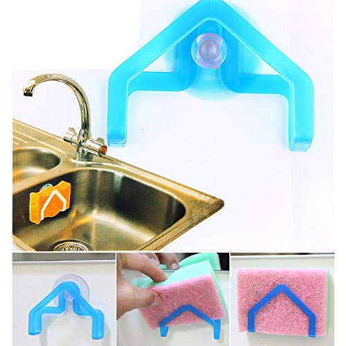 Suction Cup Hanger PVC+ABS Storage Rack Clip Dishcloth Hanger Suction Cup with Powerful Suction for Dishcloth Sponge Scouring Cloth ()