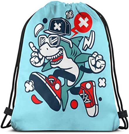 Drawstring Backpack Bag, Cinch Sack, Sport Gym Bag For Women Or Men, Cartoon Shark