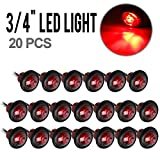 Red Clearance LED Bullet light Lamp Side Marker for Truck Trailer Round 3/4 inch Mount w/ Plug 20PCS