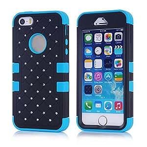 Nicel.Zero Rubber Case, Fashion Sky Diamond Star Robot Plastic Case Cover For Apple 5/5s+1 x Screen Protector+1 x StylusStylus10