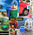Kingswell Folding Bucket, Collapsible Camping Water Container Portable Wash Basin Station Oxford Cloth-Lightweight & Durable Buckets Camping Hiking Travelling Fishing Washing