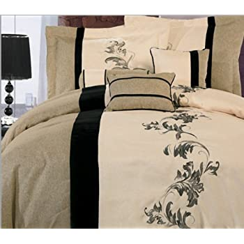 7 Pieces Luxury Beige, Cream, and Black with Floral Linen Comforter Set / Bed-in-a-bag King Size Bedding