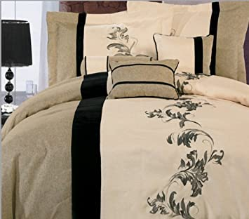 7 pieces luxury beige cream and black with floral linen comforter set bed