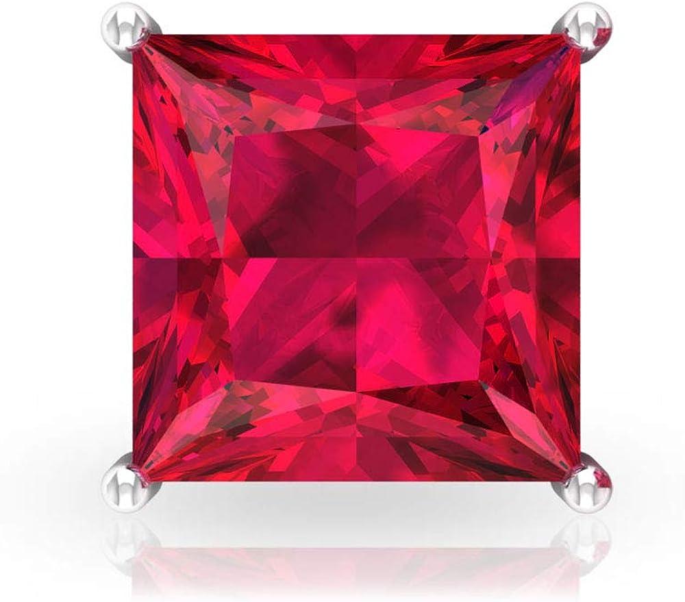 Aretes de cristal de rubí de 4 quilates con certificado IDCL, clásico corte princesa, pendientes de oro con piedras preciosas de solitario, pendientes de chica adolescente, tornillo hacia atrás