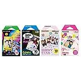 Fujifilm Instax Mini Film 4 Pack Bundle! Rainbow, Comic, Shiny Star, Candy Pop 10 X 4 = 40 Sheets Assort Set  Photo Frame Stickers 20 pcs