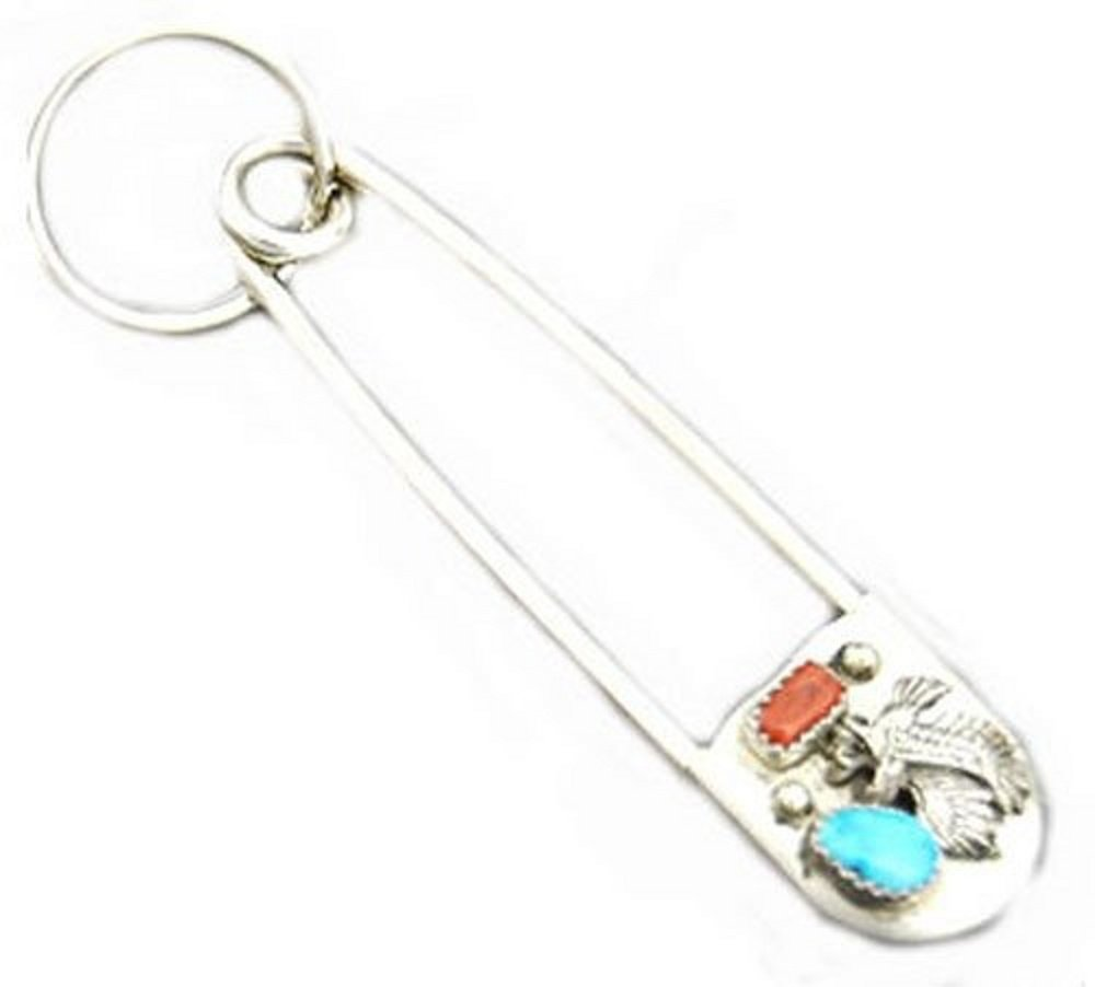 Safety Pin W/key Ring Chain W/nugget Dyed Turquoise & Coral Crafted Eagle Hand Crafted By Virginia Johnson Giant by Roger Enterprises