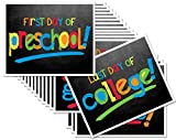 First Day & Last Day of School 8x10 Photo Prop Signs Complete Series Preschool to College Primary Colors for Boys & Girls, 16-Grade Levels: Preschool, Pre-K, Kindergarten, 1st-12th Grades to College