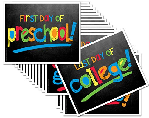 Back to School Signs, 16 Grades Chalkboard First Day of School & Last Day Photo Prop Signs (Primary Text for Boys or Girls) (Best First Text To Girl)