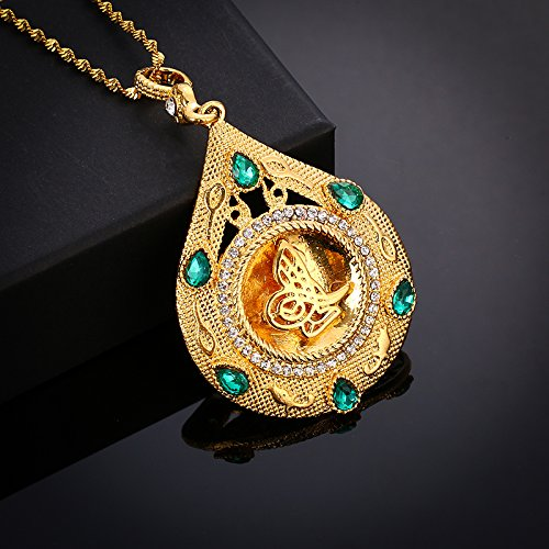 Tanakorn Statement Necklace Arabic Women Muslim Islamic Religious God Allah Gold-Color Pendant Middle East Necklace Jewelry