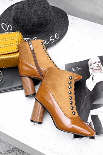 NVXIE Women Short Boots Rough High Heel Square head Artificial PU Suede Double Row Rivets Black Brown Fall Winter Party Work BROWN-EUR36UK354 r0HNbqdDLu