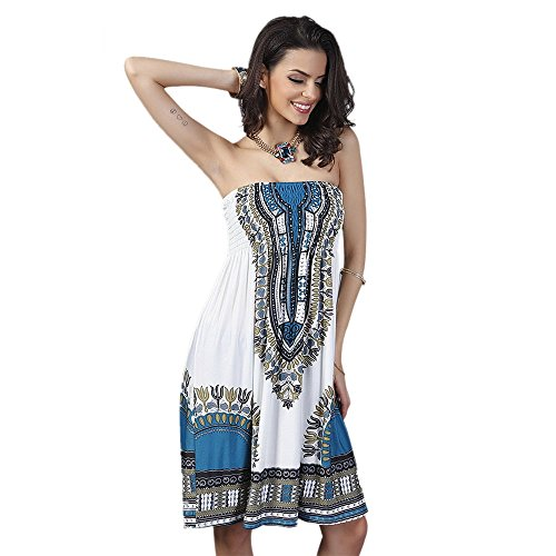 GYM HEROES Strapless Floral Print Cover up Tube Short Dress Bohemian Summer Casual Beachwear