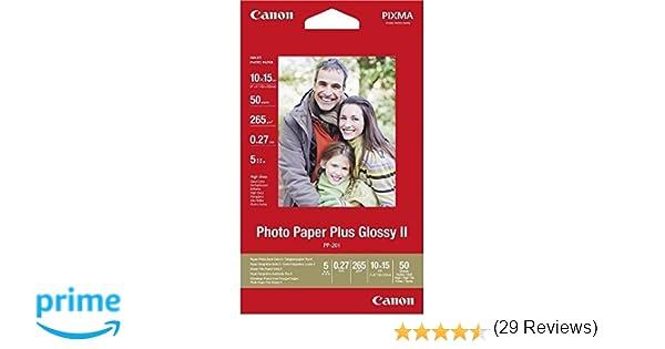 Canon PP-201 - Papel fotográfico, 10 x 15 cm, 50 hojas: Amazon.es: Oficina y papelería