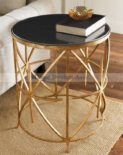 Granite Top Iron Side Table Gold Black Sunburst Starburst