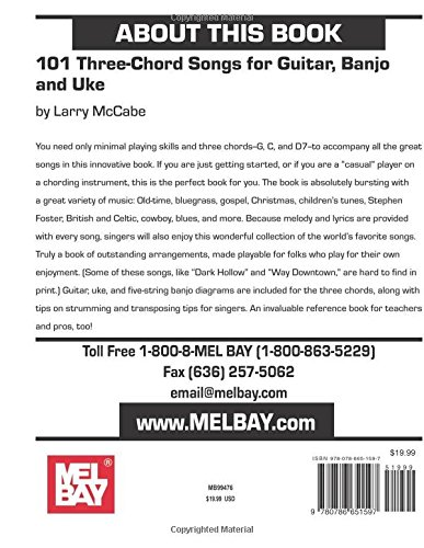 Amazon Mel Bay 101 Three Chord Songs For Guitar Banjo And Uke