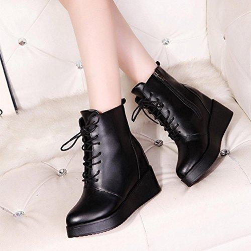 Schuhe Frauen reizvolle Aufladungs SHOBDW Knöchel Damen Stiefel Schwarz Art für Damen Weisepunkquadrat Frauen Plattform Schwarzes und Aufladungs xqZR4n