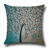 "Rise World Pillowcase 18 "" x 18 "" Square Cotton Linen Throw Pillow Case Decorative Oil Painting Black Tree Blue Flowers"