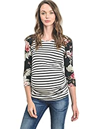 Women's Baseball Crew Neck Raglan Maternity T-Shirts Top