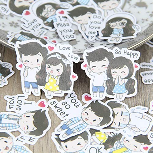 Sticker 40 pcs Cute Cartoon Couple boy for Phone car Decorative Stationery Scrapbooking DIY Diary Album Toy]()