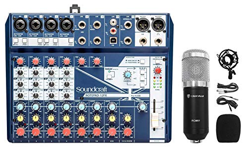 Soundcraft Notepad-12FX 12-Channel Mixer w/USB I/O+Effects+Studio Mic+Shockmount