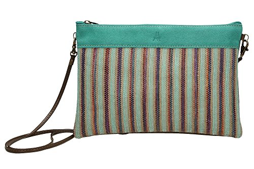 ANTHER R1248V Bolso Rafia Piel Ante color Verde 28 X 19 cm