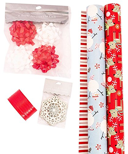 The Gift Wrap Company, Holiday Wrapping Paper Set, Snowmen and Reindeer Whimsical Wrap, Ribbon, Bows, and Gift Tags (Reindeer Paper)