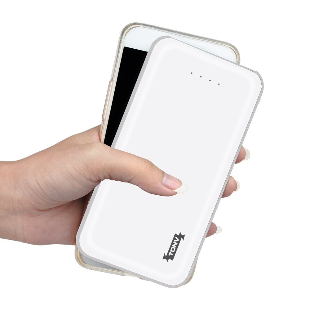Tonv 10000mah Portable Baterry Bank Charger Support Quick Charge 3.0 Slim Design for MacBook and Type C Smartphones and MP3 Player and More (White)