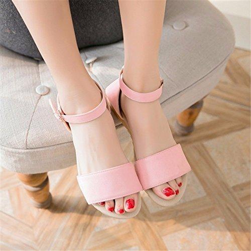 luz de sandalias tamaño Damas femenino Pink suede tono hebilla de un planas sandalias verano gran z4wUxdwq