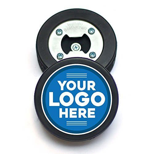 Custom Hockey Puck Bottle Opener, Personalized Coaster & Cap Catcher, Use your own Logo
