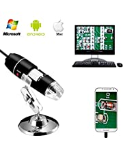 Jiusion 40 to 1000x Magnification Endoscope, 8 LED USB 2.0 Digital Microscope, Mini Camera with OTG Adapter and Metal Stand, Compatible with Mac Windows 7 8 10 Android Linux