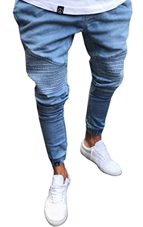 Amazon.com: Hombres Moda distressed ripped Biker Slim denim ...