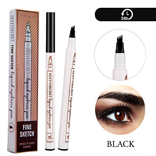 Arishine Eyebrow Tattoo Pen Microblading Eyebrow Pencil Tattoo Brow Ink Pen with a MicroFork Tip Applicator Creates Natural Looking Brows Effortlessly and Stays on All Day Black