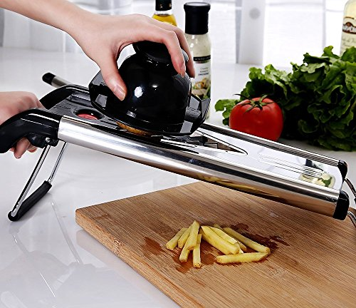 URBAN DEPOT Chef Grade Mandoline V-Blade Slicer, High Quality, 5 Interchangeable Blade Inserts,Grater,Cutter,Hand Guard,Delux Heavy Duty Stainless Steel Construction. Best Price!