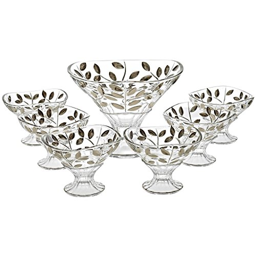 CRISTALICA Set of 7 pieces, punch set, 6 cups + 1 bowl EDELRAUSCH, handmade-each piece is uniwue, modern style (GERMAN CRYSTAL powered by