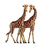 Collections Etc Giraffes Metal Wall Art 3D Safari African Décor for Living Room, Bedroom