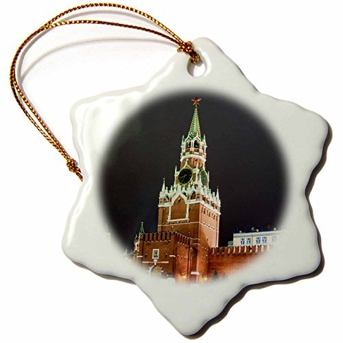OneMtoss Alexis Photography Moscow Kremlin Spasskaya Tower of Moscow Kremlin at Night Snowflake Porcelain Ornament