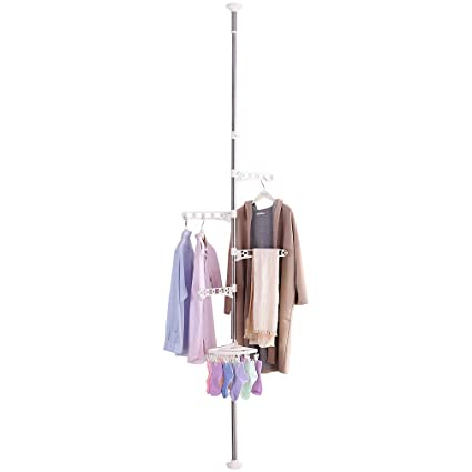 Amazon.com: Hershii Portable Indoor Garment Coat Drying Rack ...