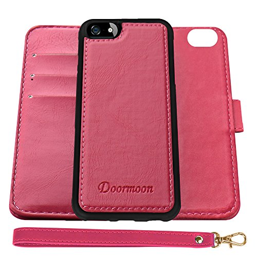 Wallet Case for iPhone SE, iPhone 5, iPhone 5S, Doormoon Detachable Flip PU Leather Cover Card Slots Cash Pocket Stand Holder Magnetic Closure£¨Rose Red£