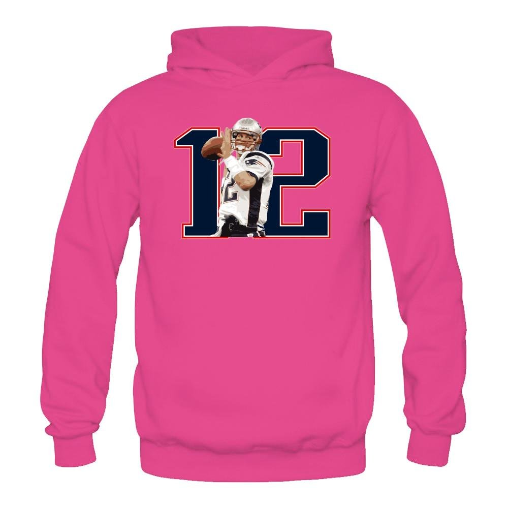 ac08858e2 Cindy Queen Women s Tom Brady - Brady  12 Adult Hooded Sweatshirt   Hoodie  Size XXL Pink Apparel