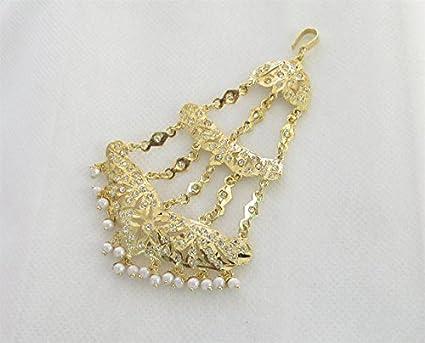 Amazon Com Gold Plated Jadau Head Passa Jadau Jhoomer Bridal
