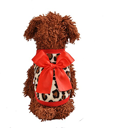 Mycandy XXXS Teacup Chihuahua Dog Clothing Sweater Small Puppy Shirt Soft Pet Cat Leopard Bowknot Vest (#4, Red)