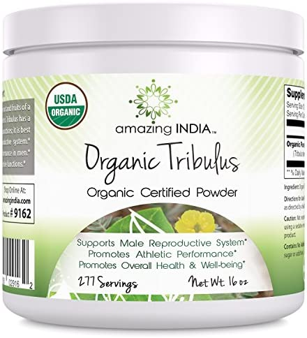 Amazing India USDA Certified Organic Tribulus Powder 16 oz-Raw,Vegan Plant-Based Nutrition Supports Men s Reproductive Health, Promote Lean Muscle Mass, Supports Heart