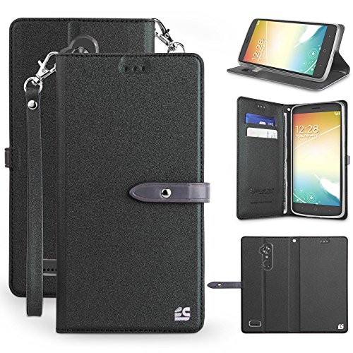 Leather Mobile Phone Covers (Spots8 Case For ZTE MAX XL, ZTE Blade MAX 3, N9560, Z963U, Black Faux Leather Hybrid Flip Wallet Cover With Phone Strap Built In Kickstand Card Slots And Magnetic Flap Closure)