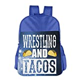 MUtang SHU Wrestling And Tacos School Backpacks For Boys Girls RoyalBlue