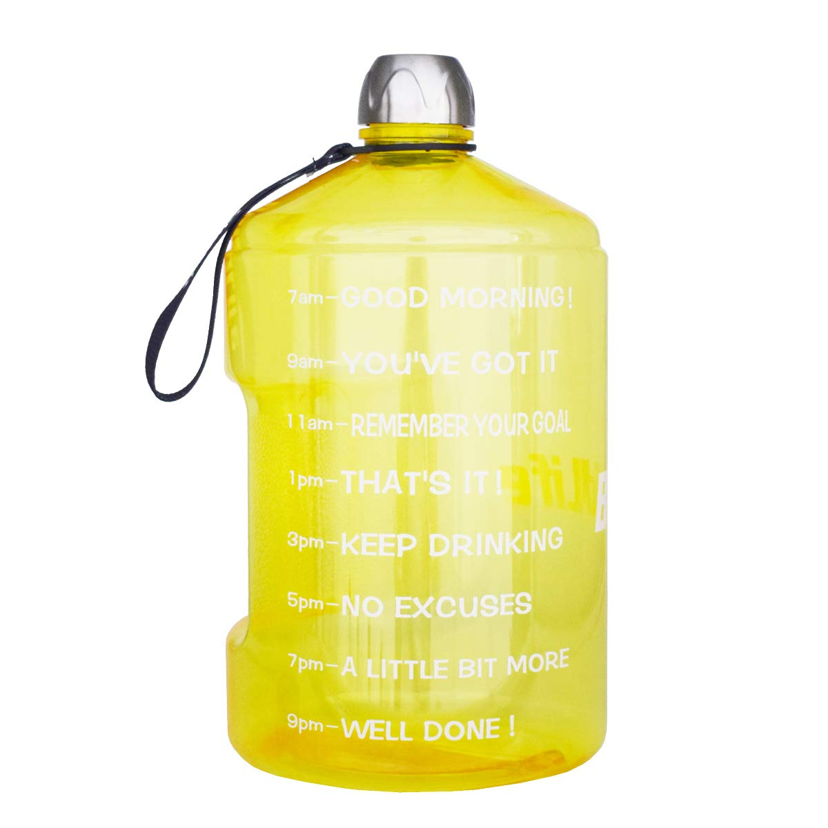 BuildLife 1 Gallon Water Bottle Motivational Fitness Workout with Time Marker  Drink More Water Daily   Clear BPA-Free   Large 128 Ounce/43OZ of Water Throughout The Day (1 Gallon-Yellow, 1 Gallon)